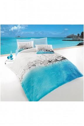 طقم غطاء سرير مزدوج / 3 قطع / ابيض - ازرق