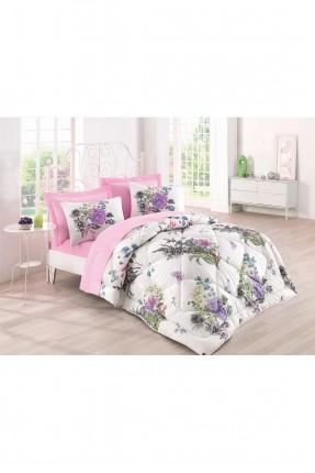 طقم لحاف سرير مزدوج / 4 قطع / وردي