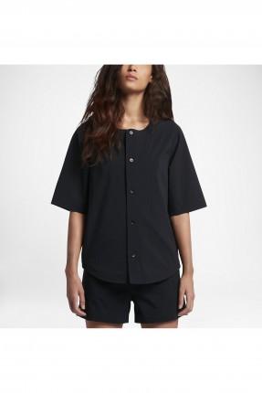قميص نسائي بزرار - اسود