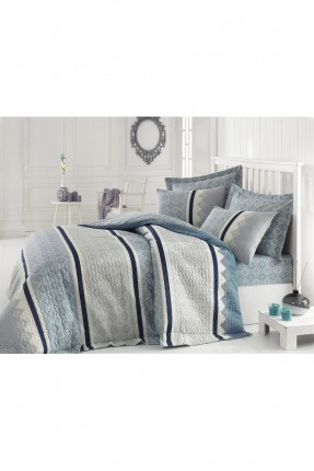 طقم لحاف سرير مزدوج - ازرق