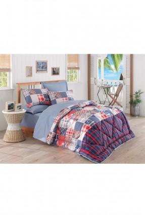 طقم لحاف سرير مزدوج / 4 قطع / ازرق