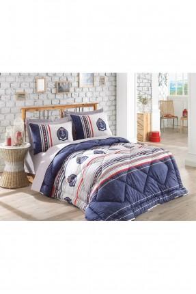 طقم لحاف سرير مزدوج / 4 قطع / كحلي