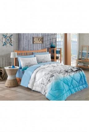 طقم لحاف سرير مزدوج - ازرق فاتح
