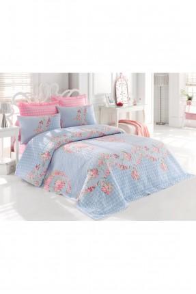 طقم غطاء سرير مزدوج رسومات زهور / 3 قطع / تركواز