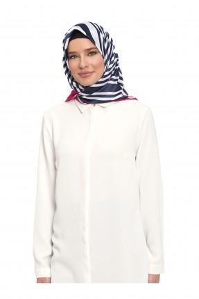 حجاب تركي مخطط - ازرق داكن