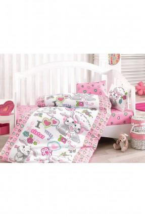 طقم سرير بيبي رسومات / 3 قطع / وردي