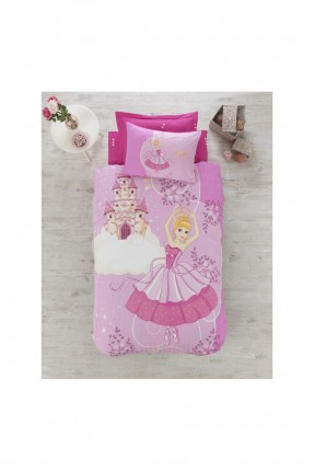طقم غطاء سرير بنات مع رسومات / 3 قطع / وردي