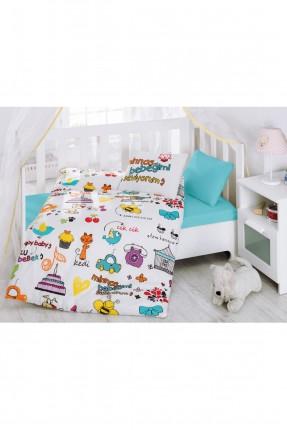 طقم غطاء سرير بيبي تركواز