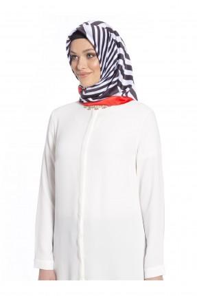حجاب تركي مخطط - اسود