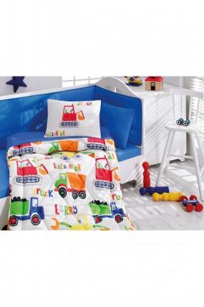 طقم لحاف سرير بيبي رسومات ازرق