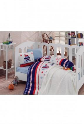 طقم سرير بيبي رسومات / 4 قطع / شرشف ازرق