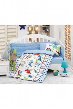 طقم لحاف سرير بيبي ازرق