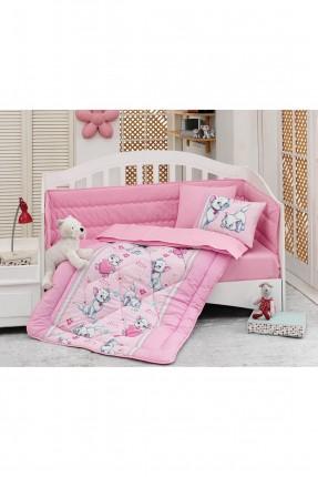 طقم لحاف سرير بيبي - وردي