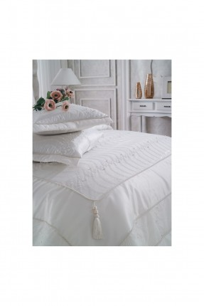 طقم غطاء سرير مزدوج / قطعتين / ابيض