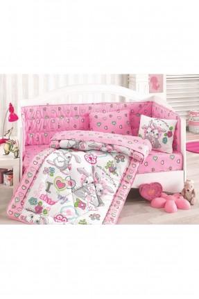 طقم سرير بيبي رسومات / 5 قطع / وردي