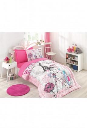 طقم لحاف سرير بناتي وردي