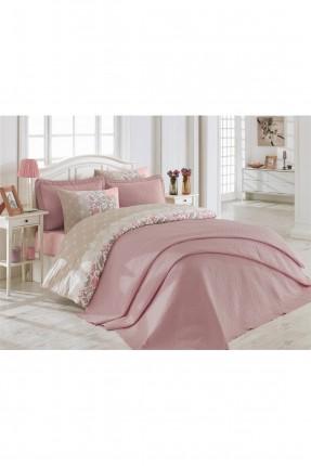 طقم غطاءسرير مفرد / قطعتين / وردي