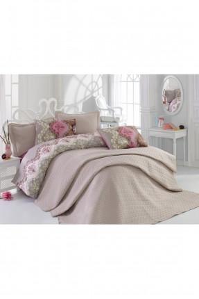 طقم غطاء سرير مزدوج كلاسيك/ 4 قطع / بيج
