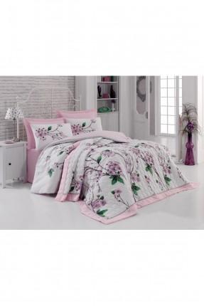 طقم غطاء سرير مزدوج رسومات ورد / 4 قطع /