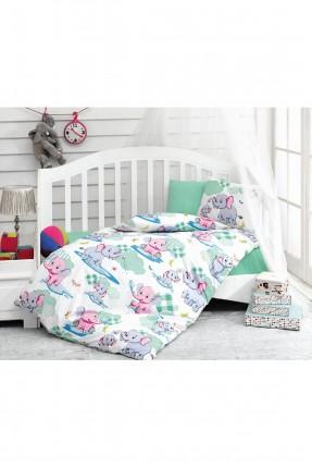 طقم غطاء سرير بيبي منقش فيل اخضر