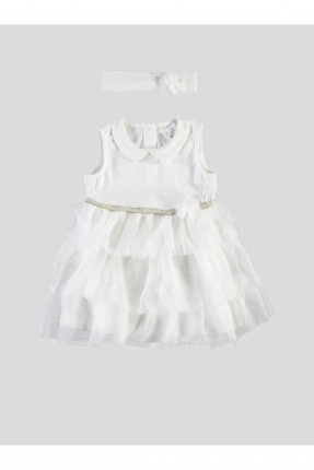 فستان بيبي بناتي كشكش - ابيض