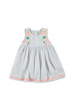 فستان اطفال بناتي بدون اكمام - ابيض