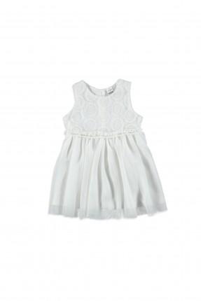 فستان اطفال بناتي منقوش - ابيض