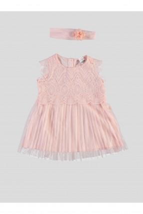 فستان بيبي بناتي دانتيل - وردي