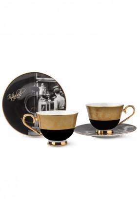 طقم قهوة - 2 شخص / 4 قطع / اسود - ذهبي