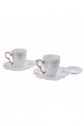 طقم قهوة زخرفة ذهبي لشخصين / 4 قطع /