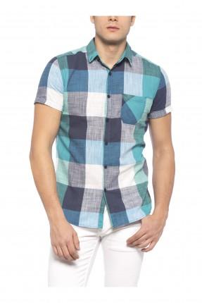 قميص رجالي كارو - اخضر