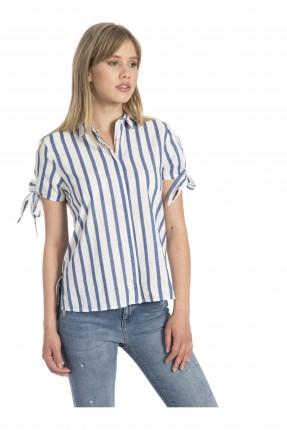 قميص نسائي مقلم - ازرق