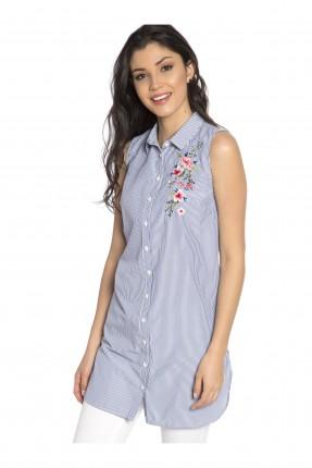 قميص نسائي حفر مطرز - ازرق