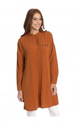 قميص نسائي مع ازرار - برتقالي