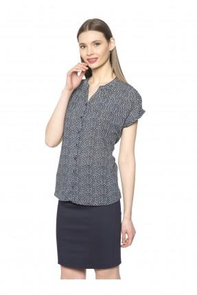قميص نسائي منقوش - ازرق داكن