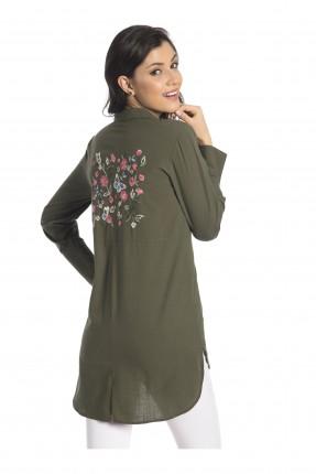 قميص نسائي مطرز - زيتي