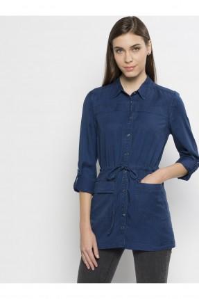 قميص نسائي جينز مزموم الخصر - ازرق