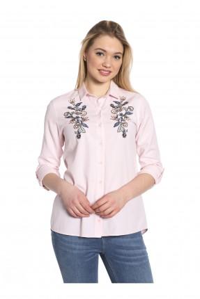 قميص نسائي مطرز عند الصدر  - وردي