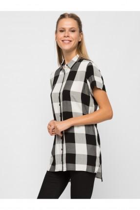 قميص نسائي كارو - ابيض