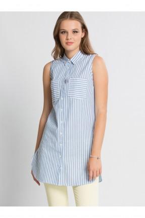 قميص نسائي حفر - ازرق