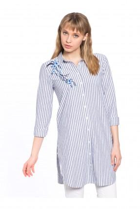 قميص نسائي مطرز - ازرق