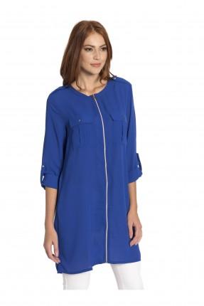 قميص نسائي مع سحاب - ازرق