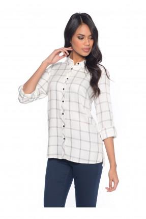 قميص نسائي كاروهات - ابيض