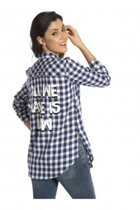 قميص نسائي كارو - نيلي