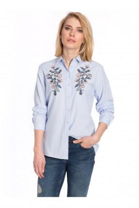قميص نسائي مطرز عند الصدر  - ازرق