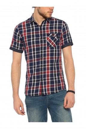 قميص رجالي كارو نص كم - احمر وازرق