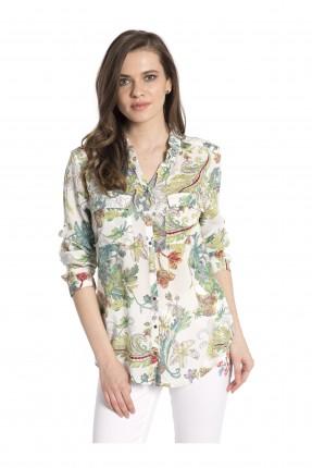 قميص نسائي منقوش - ابيض