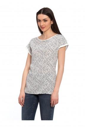 قميص نسائي منقط  - ابيض