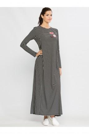 فستان نسائي مقلم كم طويل - نيلي