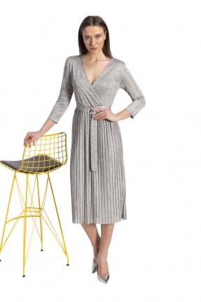 فستان نسائي ياقة v - رمادي